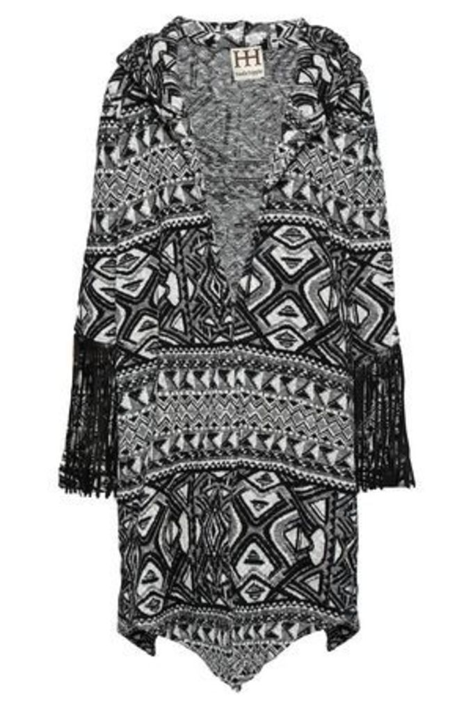 Haute Hippie Woman Fringed Jacquard-knit Jacket Black Size S