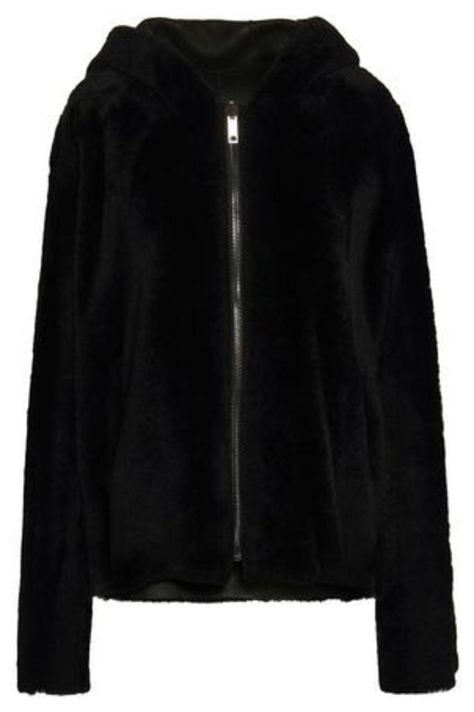 Dom Goor Woman Reversible Shearling Hooded Jacket Black Size 8