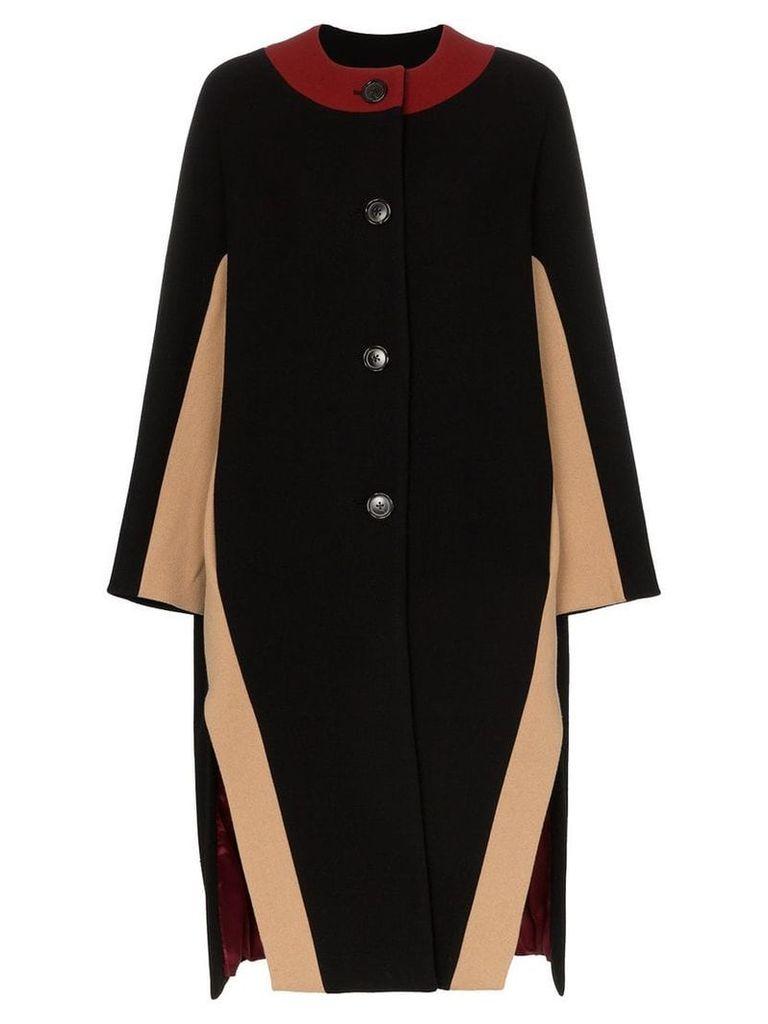 Marni contrast neck side slit cape - Black