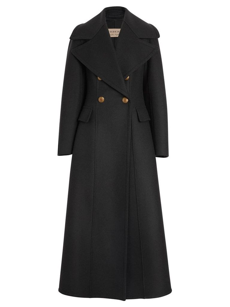 Burberry Doeskin Wool Tailored Coat - Black