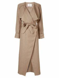 Goen.J frayed edges coat - Brown