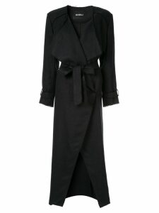 Goen.J frayed edges midi coat - Black