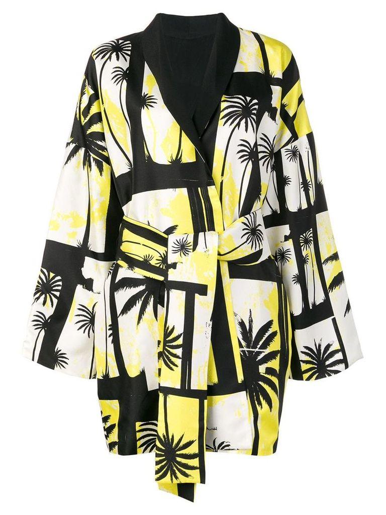 Fausto Puglisi palm tree belted kimono - Black