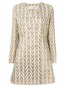 Valentino jacquard knit brocade coat - GOLD