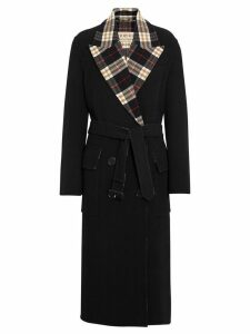 Burberry Check-lined Wool Cashmere Double-breasted Coat - Black