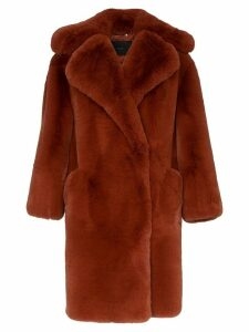 Givenchy single breasted oversized faux fur coat - Orange