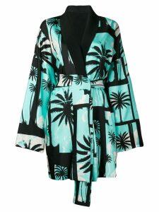 Fausto Puglisi palm tree kimono coat - Blue