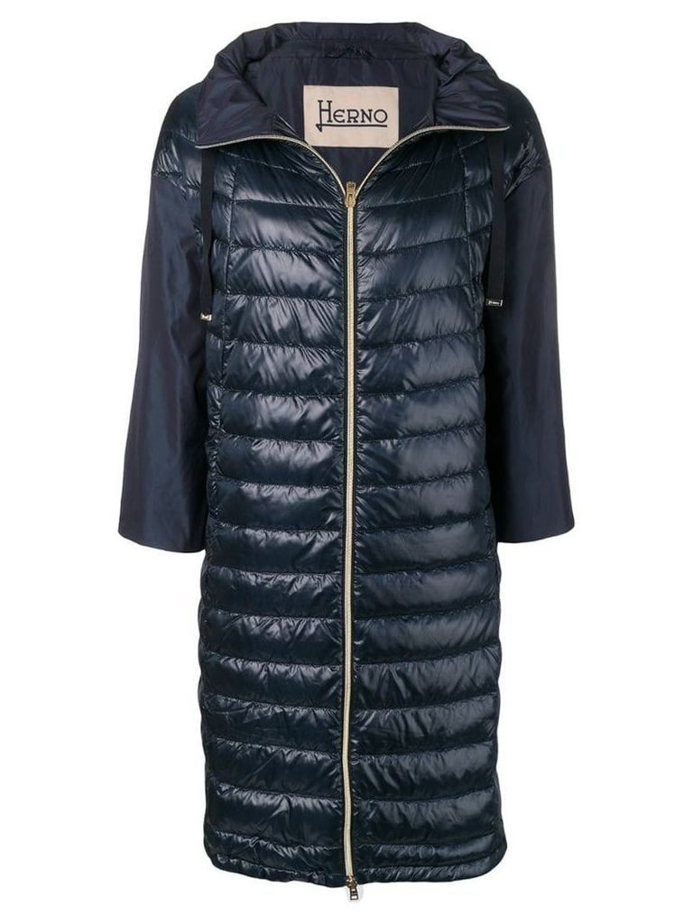 Herno long taffeta overcoat - Blue