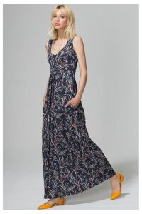 Womens HotSquash Black Oriental Birds Empire Line Maxi Dress -  Black