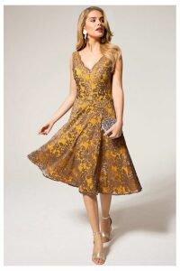 Womens HotSquash Mustard V-Neck Floral Lace Dress -  Brown