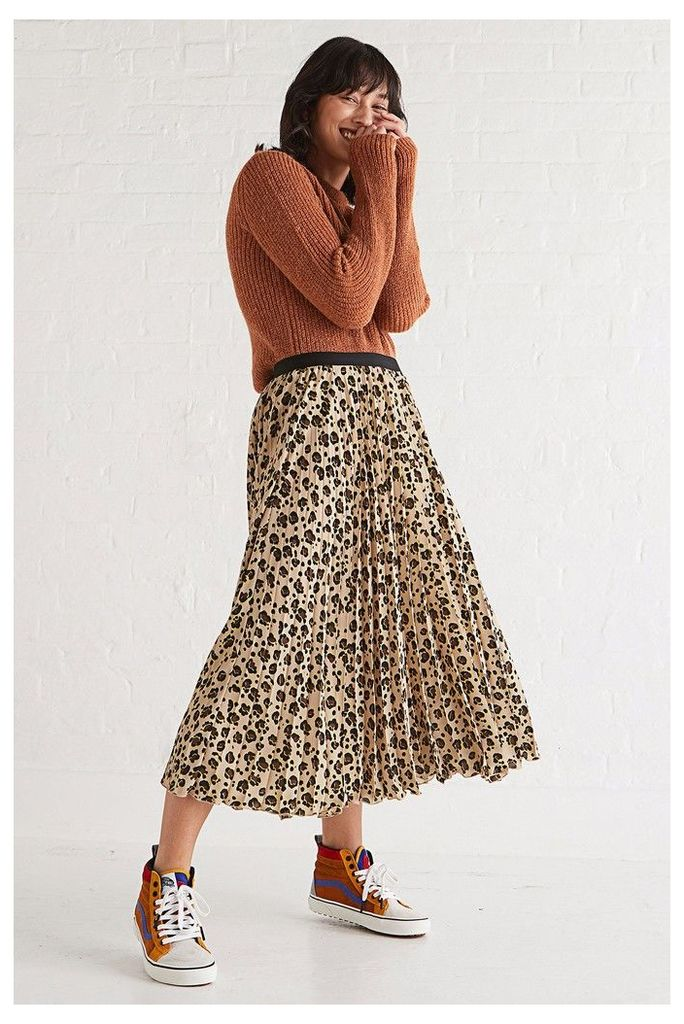 Womens Oliver Bonas Leopard Animal Flash Colour Skirt -  Animal