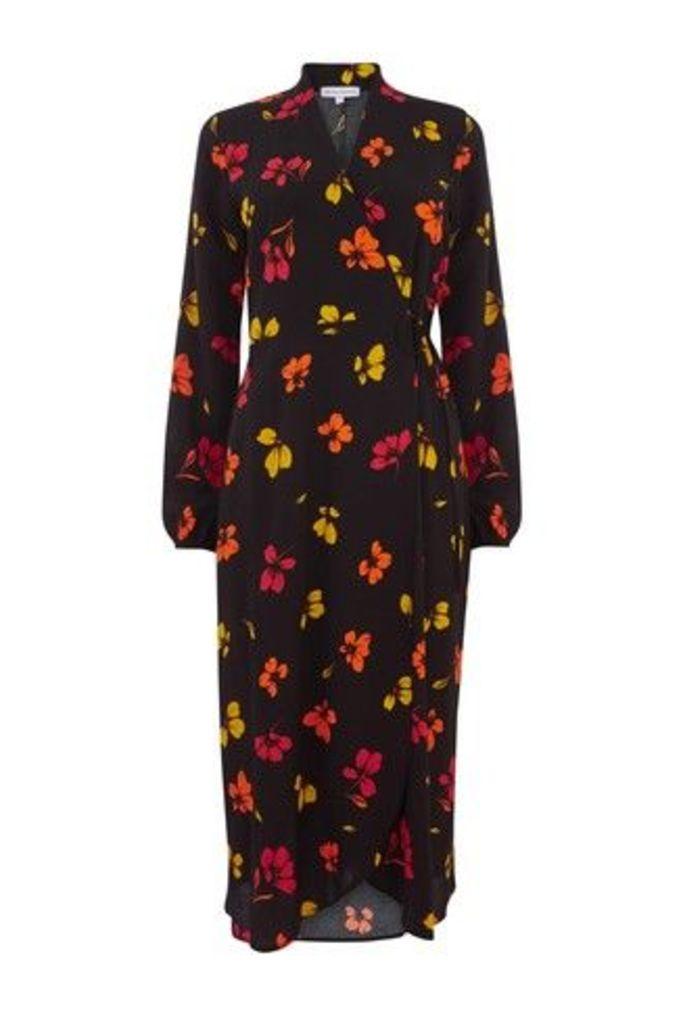 Womens Warehouse Black Sunset Floral Wrap Midi Dress -  Black