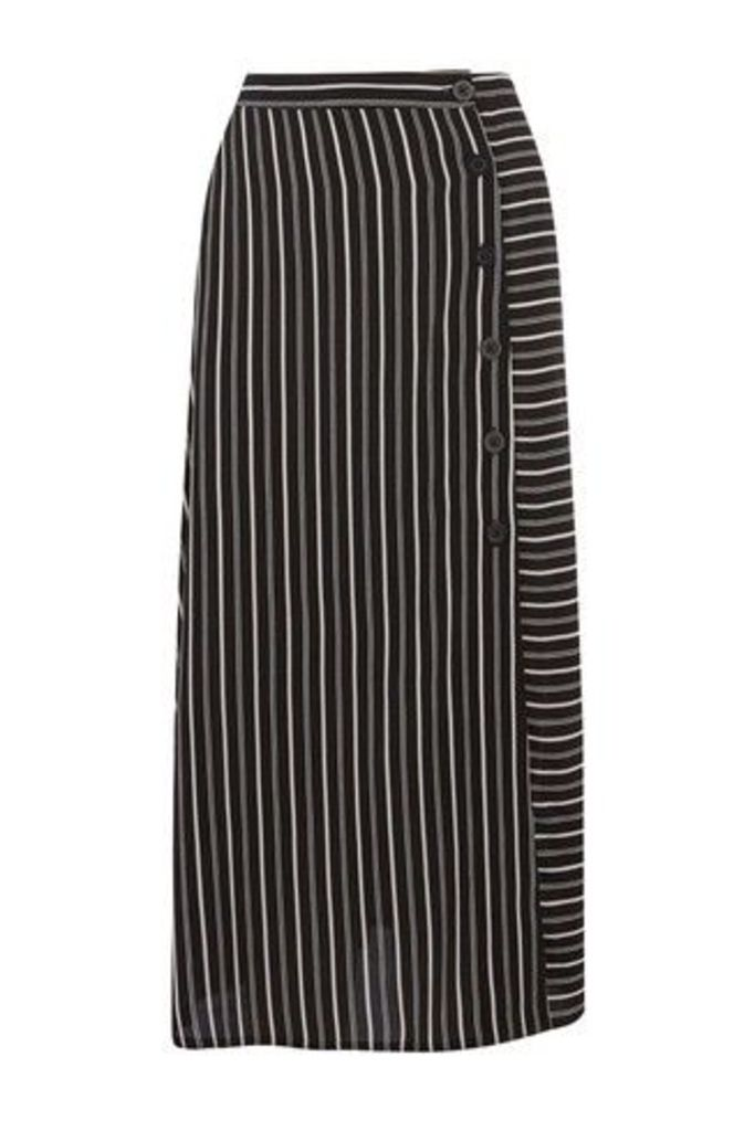 Womens Warehouse Black Stripe Button Side Midi Skirt -  Black