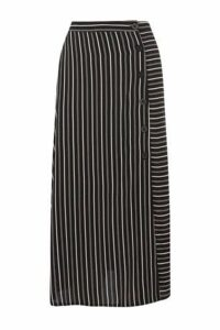 Womens Warehouse Black Stripe Button Side Midi Skirt -  Black