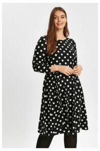 Womens Evans Black Spot Pretty Dress -  Black