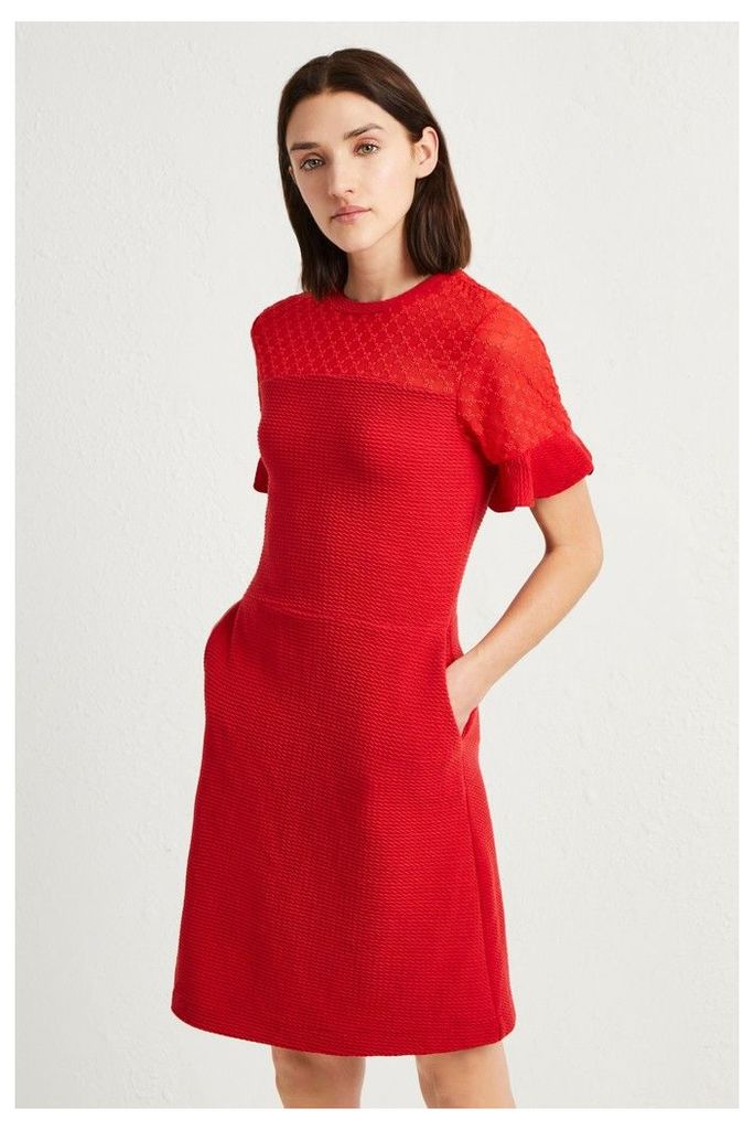 Womens French Connection Red Roesia Texture Jersey Dress -  Red
