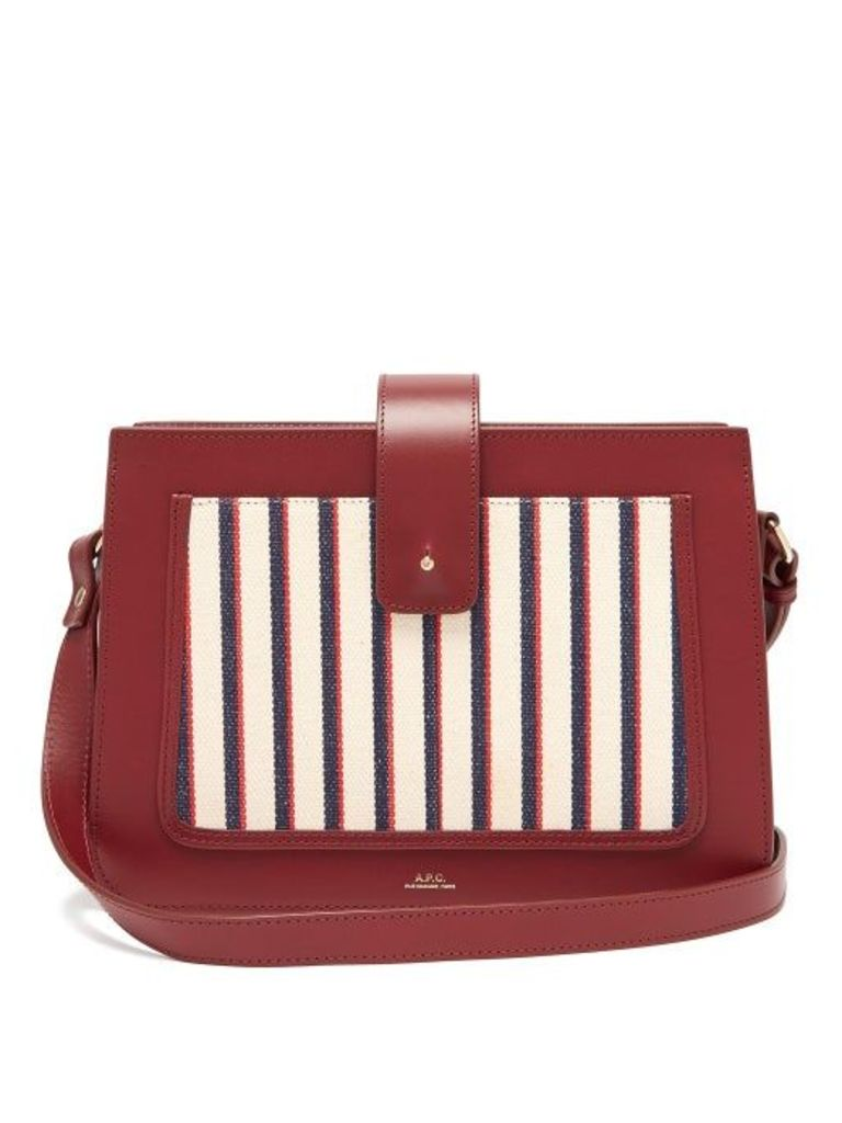 A.p.c. - Albane Canvas And Leather Cross Body Bag - Womens - Burgundy Multi