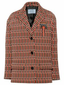 Prada jacquard peacoat - Orange