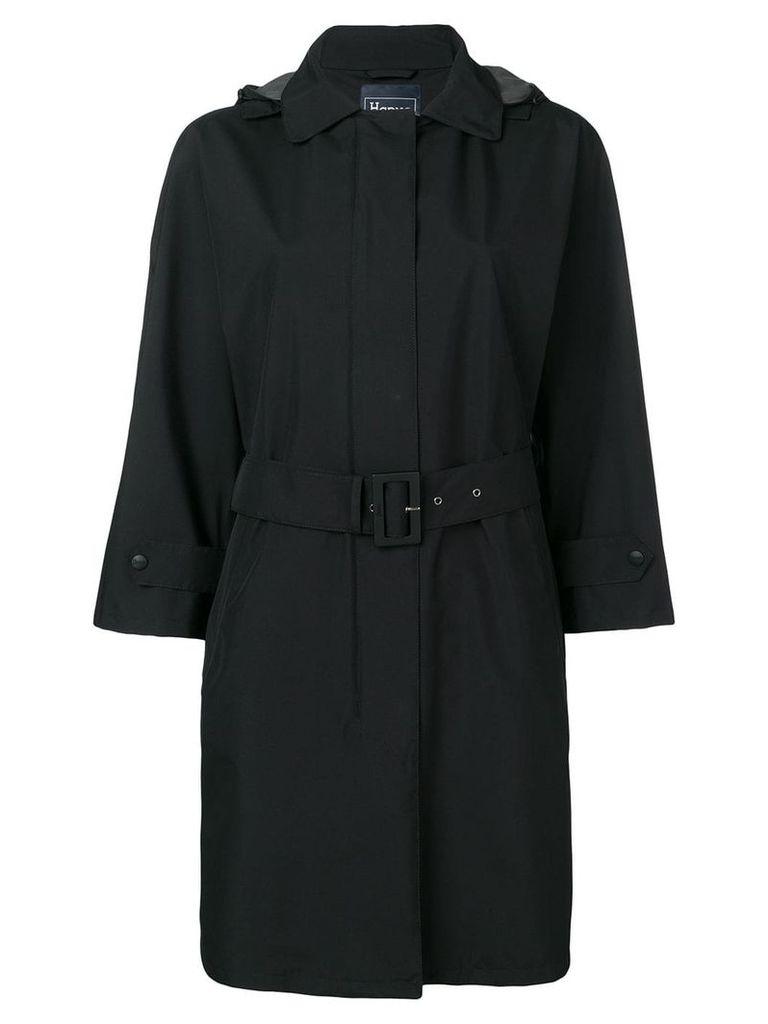 Herno hooded belted coat - Black