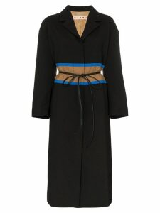 Marni contrast waistband wool coat - Black