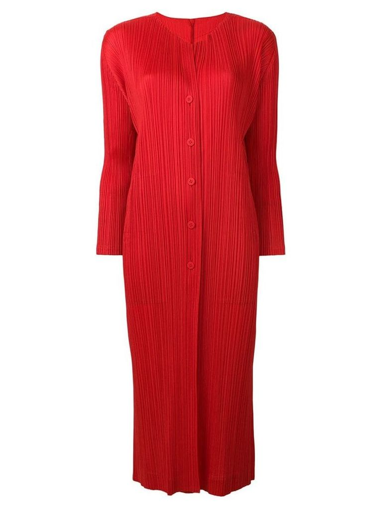 Pleats Please By Issey Miyake plissé coat - Red