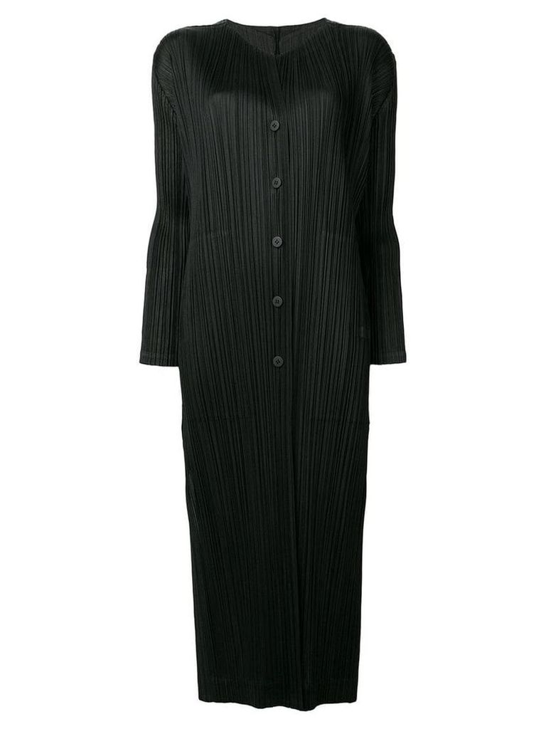 Pleats Please By Issey Miyake plissé coat - Black