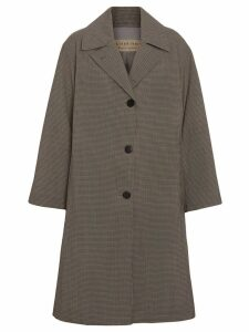 Burberry Oversized Check Wool Single-breasted Coat - Brown