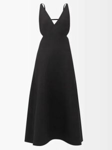 Haight - Heart V Neck Wrap Crepe Midi Dress - Womens - Dark Yellow