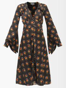 Camilla - Kimono Kisses Print Silk Midi Dress - Womens - Yellow Print