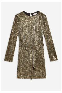 Womens **Gold Sequin Belted Dress By Club L - Gold, Gold