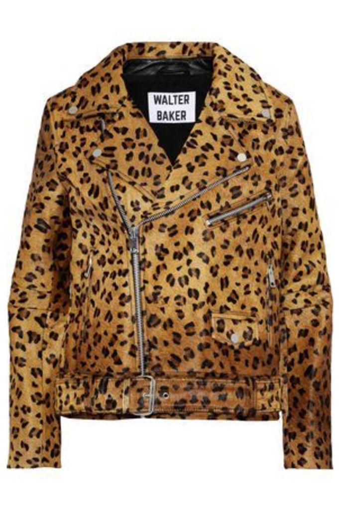 W118 By Walter Baker Woman Lonnie Leopard-print Calf Hair Biker Jacket Animal Print Size L