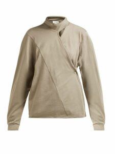 Lemaire - Scarf Neck Cotton Jersey Wrap Blouse - Womens - Light Brown