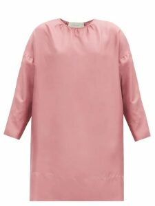 By Walid - Camilla Floral Print Silk Blouse - Womens - Blue Print