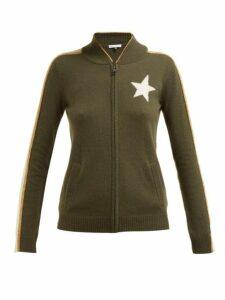 Bella Freud - Billie Zip Through Cashmere Blend Track Jacket - Womens - Khaki Multi