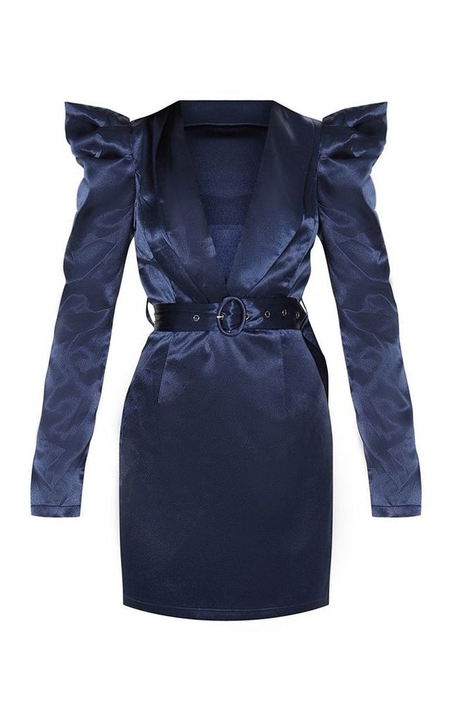 Navy Shoulder Detail Belted Blazer Style Bodycon Dress, Blue