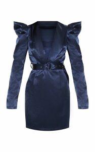 Navy Shoulder Detail Belted Blazer Style Bodycon Dress, Blue