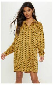 Mustard Geometric Print Shirt Dress, Mustard