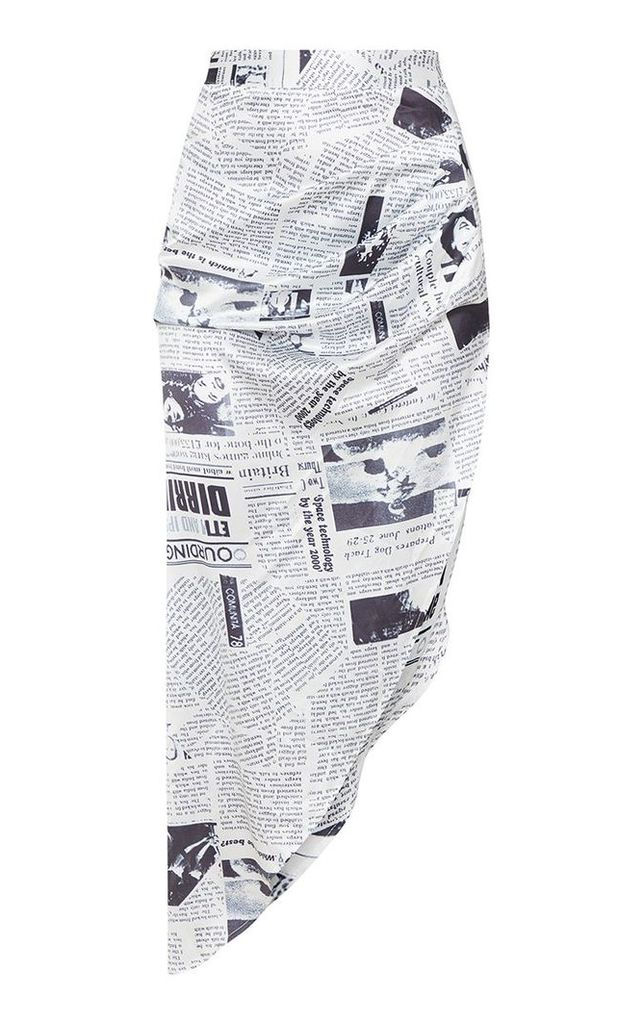 Monochrome Satin Newspaper Print Asymmetric Midi Skirt, Black
