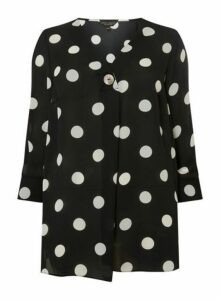 Womens **Dp Curve Black Spotted Overhead Shirt- Black, Black