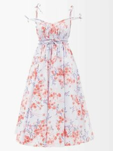 Zazi Vintage - Suzani Embroidered Shearling Lined Coat - Womens - White Multi