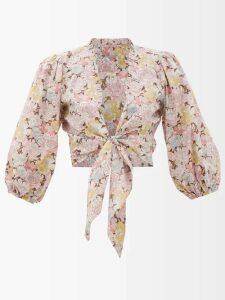 Zazi Vintage - Suzani Embroidered Shearling-lined Coat - Womens - White Multi