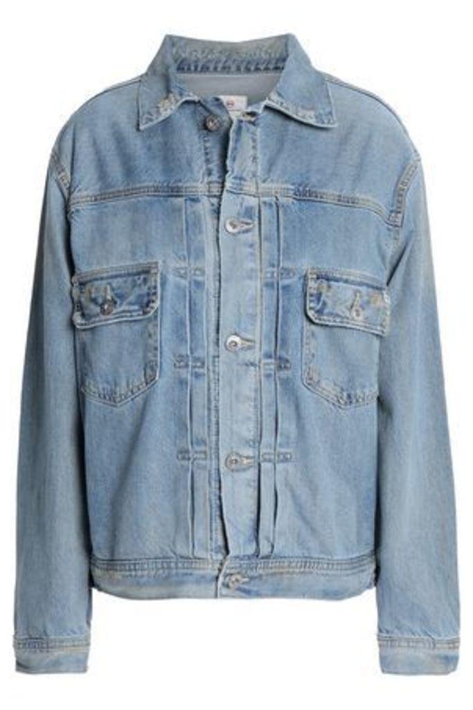 Ag Jeans Woman Distressed Denim Jacket Light Denim Size L