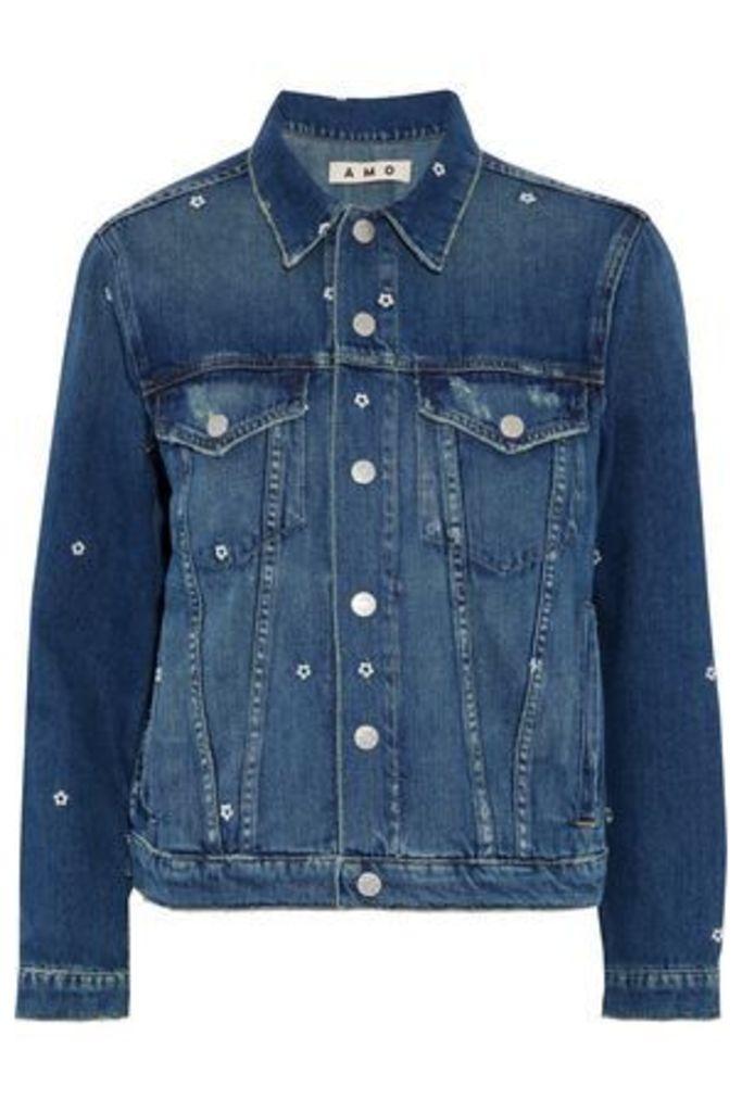Amo Woman Pop Embroidered Distressed Denim Jacket Mid Denim Size S