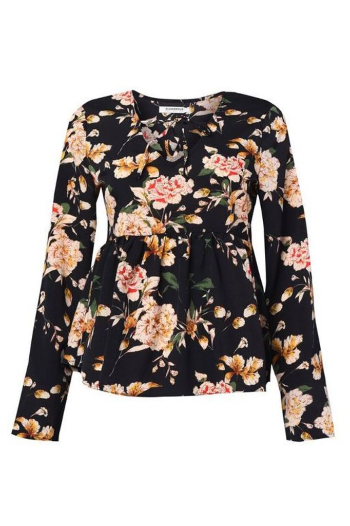 Womens **Large Floral Blouse By Glamorous - Black, Black