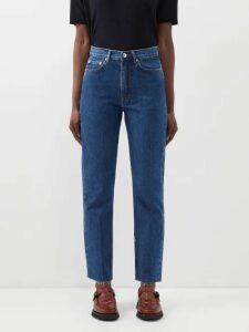 M.i.h Jeans - Larsen Tie Sleeve Denim Shirt - Womens - Dark Blue