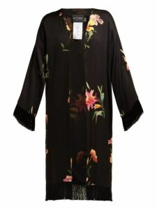 Etro - Meadows Lily Print Satin Kimono Jacket - Womens - Black Multi