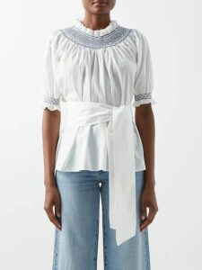 Rochas - Gathered Floral Brocade Gown - Womens - Pink