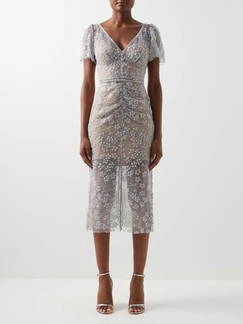 Dolce & Gabbana - Ruffle Trimmed Tulle & Feather Gown - Womens - Red