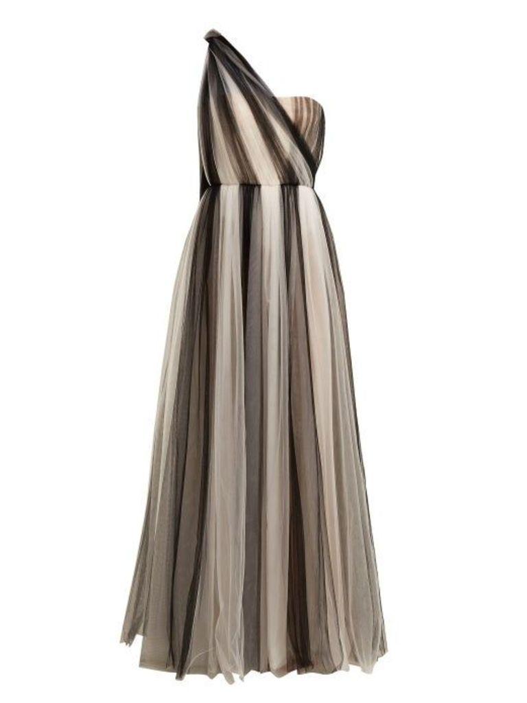 Carolina Herrera - One Shoulder Striped Tulle Gown - Womens - Black White