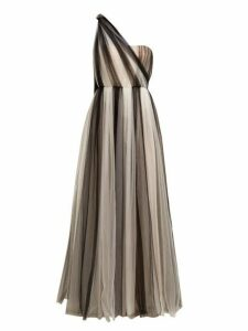 Carolina Herrera - One Shoulder Striped Tulle Gown - Womens - Black White